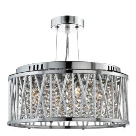Elise Chrome 3 Light Fitting With Crystal Button Drops