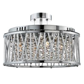 Elise Chrome 5 Light Fitting With Crystal Button Drops