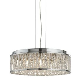 Elise 7 Light Ceiling Flush/pendant, Chrome, Clear Crystal Drops, Aluminium Tube