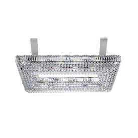 Vesuvius Chrome Rectangle 26 Light Chandelier With Crystal Coffin Drops