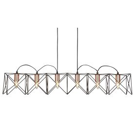 6 Light Metal Black Frame Pendant Bar With Copper Detail, Adjustable Height