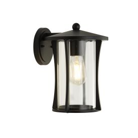 Pagoda 1lt Outdoor Wall/porch Light - Black With Clear Glass