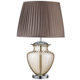 Chrome Urn Table Lamp With Amber Glass Centre Pleated Shade