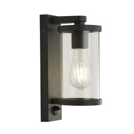 1lt Outdoor Wall/porch Light With Pir - Black With Clear Glass