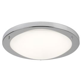 Satin Silver Flush Fitting, Opal Glass, 20w