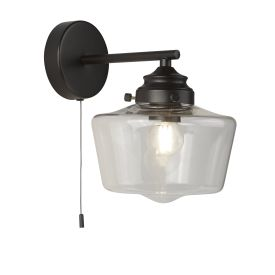 1lt School House Wall Light , Black With Opal Glass