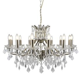 12 Light Chandelier, Clear Crystal Drops & Trim, Antique Brass
