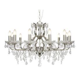 12 Light Chandelier, Clear Crystal Drops & Trim, Satin Silver