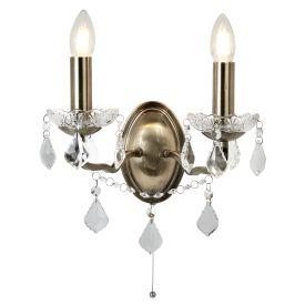 2 Light Wall Bracket, Clear Crystal Drops & Trim, Antique Brass Metal Finish