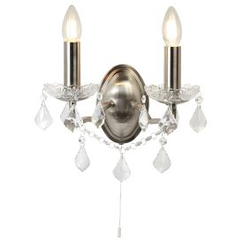 2 Light Wall Bracket, Clear Crystal Drops & Trim, Satin Silver Metal Finish