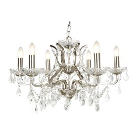 6 Light Chandelier, Clear Crystal Drops & Trim, Satin Silver Metal Finish