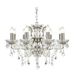 8 Light Chandelier, Clear Crystal Drops & Trim, Satin Silver Metal Finish