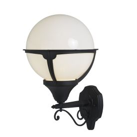 Orb Lantern Outdoor 1 Light Wall Light, Black/round Opal Shade