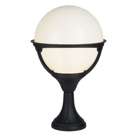 Orb Lantern Outdoor 1 Light Post, Black/round Opal Shade