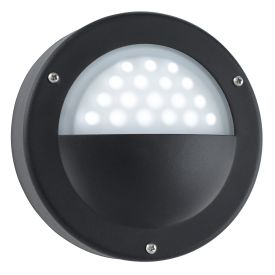 Black Ip44 18 Led Circular Outdoor Die Cast Aluminium Wall Light With Acid Glass