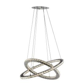 Clover Chrome 168 Led 2 Ring Pendant Light With Clear Crystal Decoration