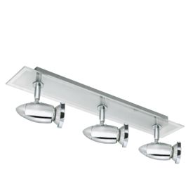 Saturn Chrome 3 Light Spotlight With Frosted & Clear Glass Backplate