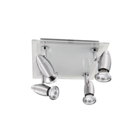 Saturn Chrome 4 Light Spotlight With Frosted & Clear Glass Backplate