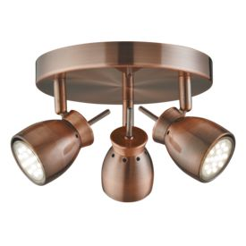 Jupiter Antique Copper 3 Light Ceiling Spotlight With Round Plate