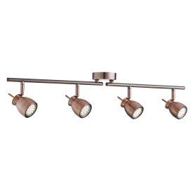 Jupiter Antique Copper 4 Light Ceiling Spotlight With Adjustable Bar