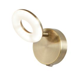 1 Light Donut Led Spot Wall Bracket, Antique Brass