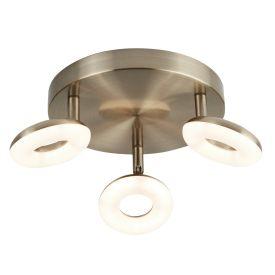 3 Light Donut Led Disc Spot Light Antique Brass, Switched, Adjustable Heads
