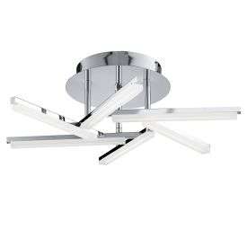 Solexa 6 Light Led Chrome Ceiling Fitting With Frosted Criss Cross Pattern Arms