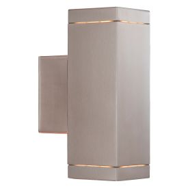 Satin Silver Ip44 2 Light Square Outdoor Light