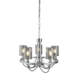 5 Light Ceiling Fitting, Chrome, Black Braided Cable, Smoked Glass Shades