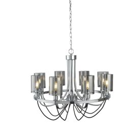8 Light Ceiling Fitting, Chrome, Black Braided Cable, Smoked Glass Shades