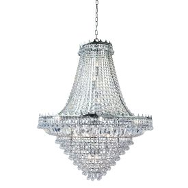 Versailles Chrome Large 19 Light Chandelier Trimmed With Crystal Glass Chains
