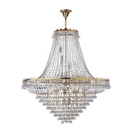 Versailles Gold Large 19 Light Chandelier Trimmed With Crystal Glass Chains