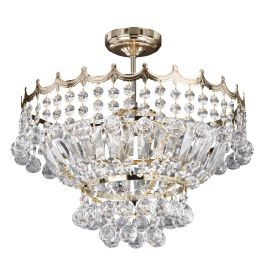 Versailles Gold 5 Light Semi-flush Fitting Trimmed With Crystal Glass Chains
