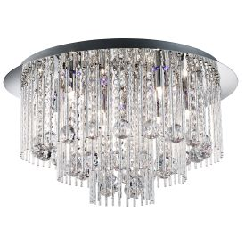 Beatrix Chrome Blue Led Ceiling Light With Crystal Drops