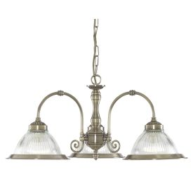American Diner Antique Brass 3 Light Fitting With Clear Ribbed Glasses