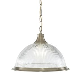 American Diner - Antique Brass, 1 Light Pendant, Clear Ribbed Glass