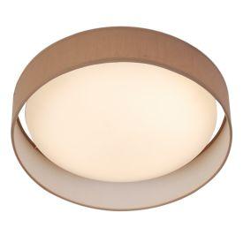 15 Watt 1 Light Led Flush Fitting, Acrylic Diffuser, Brown Fabric Shade