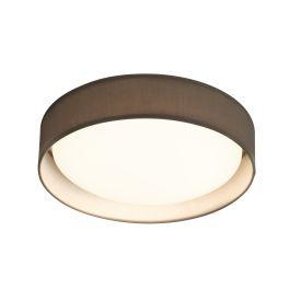 15 Watt 1 Light Led Flush Fitting, Acrylic Diffuser, Grey Fabric Shade