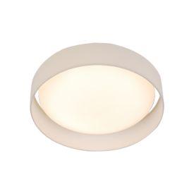 15 Watt 1 Light Led Flush Fitting, Acrylic Diffuser, White Fabric Shade