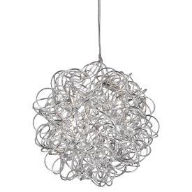 Scribble - 6 Light Pendant, Diamond Cut Tangled Aluminum