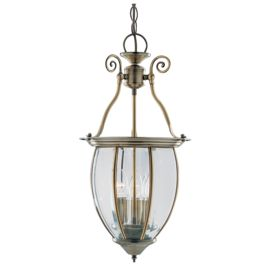 Antique Brass 3 Light Lantern With Curved Bevelled Glass Panels, Adjustable