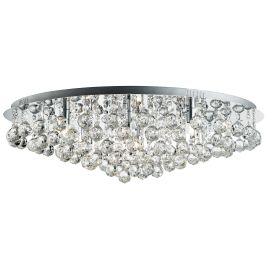 Hanna Chrome 8 Light Semi-flush Fitting With Clear Crystal Ball Decoration