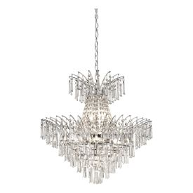 9lt Pendant With Crystal Glass Drops, Chrome