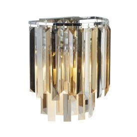 Clarissa 2 Light Chrome Wall Bracket With Cl,am Sm Glass
