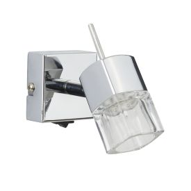 Blocs Led 1 Light Bracket, Chrome, Clear Glass, Adjustable Arms, Switched