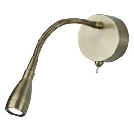 Antique Brass Led Reading Light, Flexi Wall Lamp, Switched