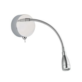 Led Chrome Flexible Reading Light With Flexible Chrome Arm, Switched