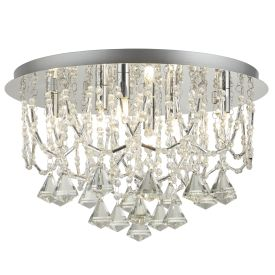 Chrome 6 Light Ceiling Flush Fitting, Clear Crystal Pyramid Drops & Trimmings