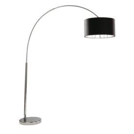 Arcs Chrome Floor Lamp With Black Fabric Shade & Silver Liner, Eu Plug