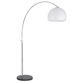 Arcs Chrome Floor Lamp With White Plastic Dome Shade, Eu Plug